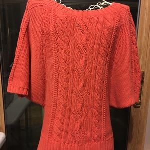 Loft brand coral, ribbed, 3/4 sleeve sweater